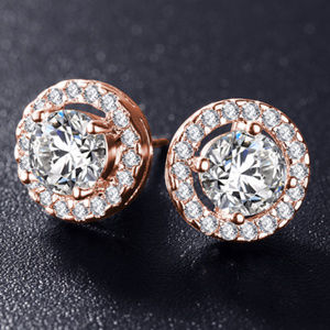 NEW Rose Gold Cubic Zirconia Stone Stud Earrings